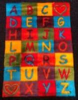 Funky Fun Soft Faux Fur Fabric Rug - ALPHABET